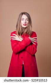 Stylish fashionable girl in red coat, Fashion, fashion clothing. fashion clothing women.