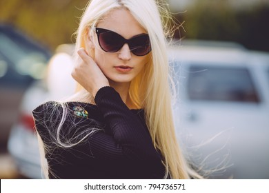 stylish, fashionable woman with glasses