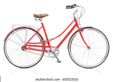 Stylish female red bicycle isolated on white background