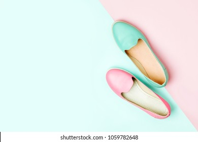 Stylish female shoes in pastel colors. Beauty and fashion concept. Flat lay, top view