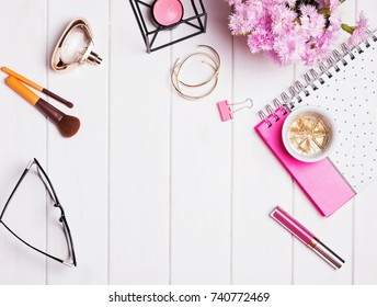 Stylish feminine accessories on the white wooden background, top view