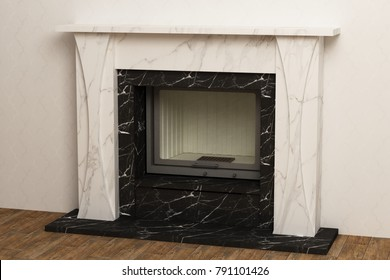 Stylish fireplace in the interior