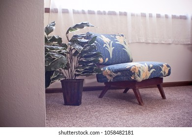 Stylish Floral Chair with Fake Plant Interior