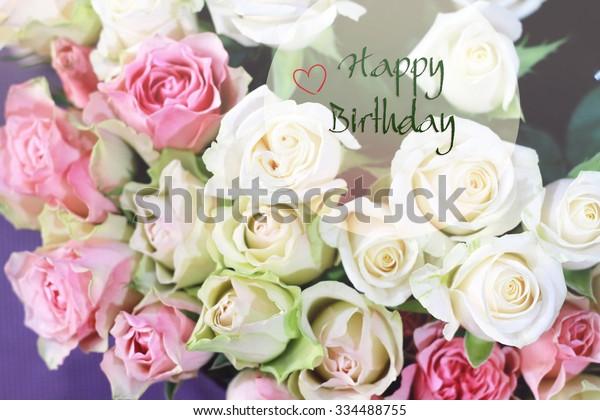 Stylish Gentle Romantic Happy Birthday Card Stock Photo