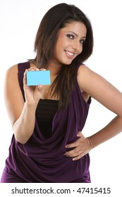 Stylish girl with blue credit card