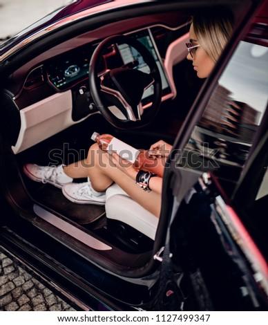Stylish Girl Bottle Car Stock Photo (Edit Now) 1127499347