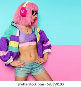 Stylish Girl DJ. Rave era. Club style life