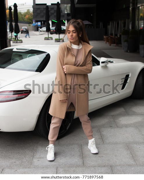 Stylish Girl Near Car Stock Photo (Edit Now) 771897568