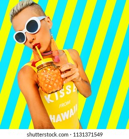 Stylish Girl in trendy beach accessories and smoothie cocktail. Beach party fashion mood