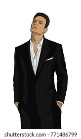 Stylish guy in a black suit on a white background. Businessman