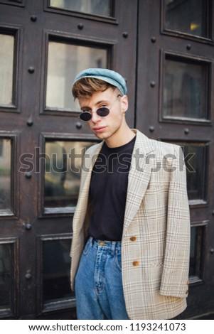f9d7445e0fbc Stylish Guy Jacket Cap Glasses Street Stock Photo (Edit Now ...