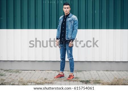 Stylish Guy Standing Street Denim Jacket Stock Photo Edit Now