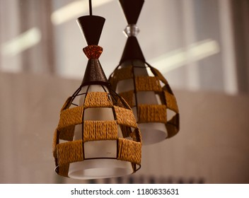 Stylish hanging interior lamp shades isolated unique photo