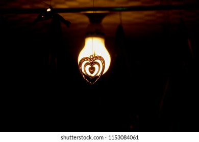Stylish heart shape hanging showpiece with ceiling lights unique photo
