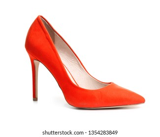 Stylish high heel shoe on white background
