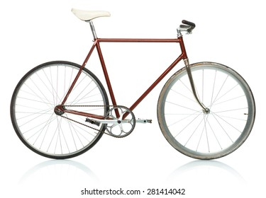 Stylish hipster bicycle - fixed gear isolated on white background