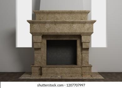 Stylish home fireplace of beautiful natural stone