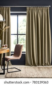 Stylish home living room with Curtains