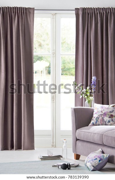 Stylish Home Living Room Curtains Interiors Stock Image