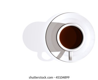 Stylish illustration looking down on a cup of coffee