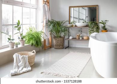 Intérieur élégant de la salle de bains avec plantes vertes