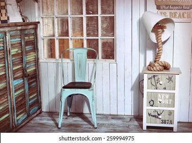 stylish interior corner with sea and beach shabby design ideas