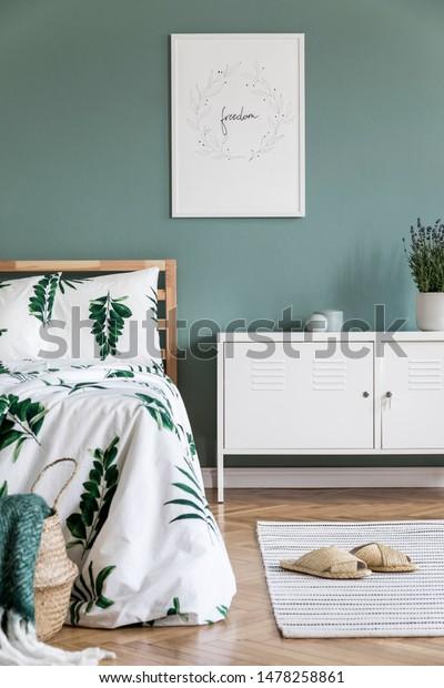 Stylish Interior Design Bedroom Wooden Bed Stock Photo Edit Now 1478258861
