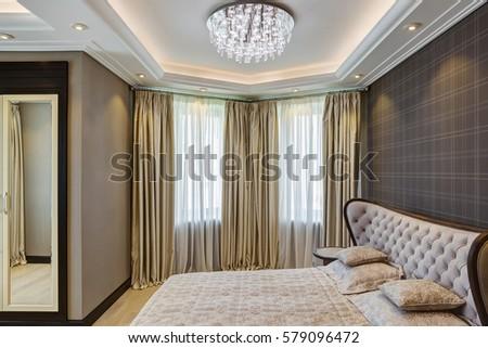 Stylish Interior Empty Bedroom Crystal Chandelier Stock Photo (Edit ...