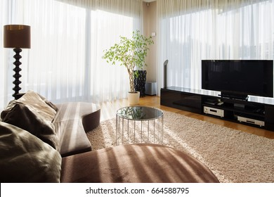 Stylish interior of living room for big family with tv set and furniture. Room in brown and beige colors with sofa, table in center and plants in corner.