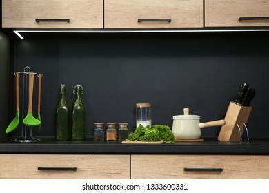 Stylish kitchen counter with houseware and products