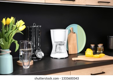Stylish kitchen counter with set of houseware