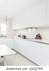 stylish kitchen interior in the background