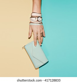 Stylish Ladies Accesories. Clutch and Jewelry. Vanilla Summer.