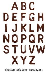stylish latin alphabet made of melted chocolate isolated on white background