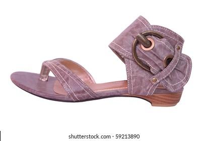 stylish leather sandals isolated on white