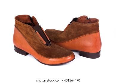 Stylish leather shoe in studio, isolated on white
