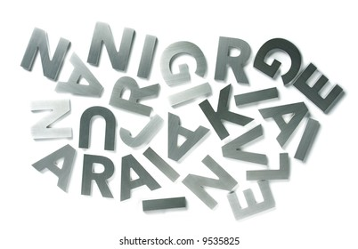 Stylish letters cut out of polished steel isolated on white
