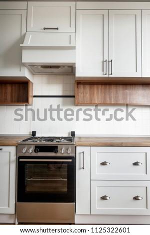 Stylish Light Gray Kitchen Interior Modern Stock Photo Edit Now