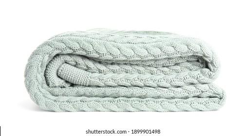 Stylish light knitted plaid on white background