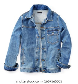 Stylish Lightweight Blue Jean Jacket Button Closure Isolated on White. Modern Stonewashed Denim Coat with 2 Welt Pockets & 1 Chest Pocket Front View. Warm Cotton Outwear. Best Classic Outdoor Clothing