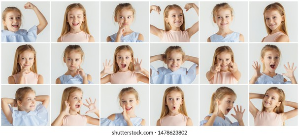 Stylish little girl posing in casual clothes on white studio background. Caucasian blonde model. Human emotions, facial expression, childhood. Creative collage. Winner, thinking. astonished, screaming