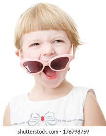stylish little girl with sunglasses isolated on white