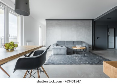 Stylish living room in gray loft interior with rustic rug