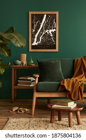 Stylish living room in house with modern retro interior design, velvet sofa, carpet on floor, brown wooden furniture, plants, poster mock up map, book, lamp and perosnal accessories in home decor. - Shutterstock ID 1875804136