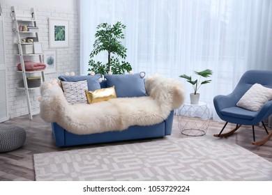Stylish Living Room Interior Comfortable Sofa Stock Photo Edit Now