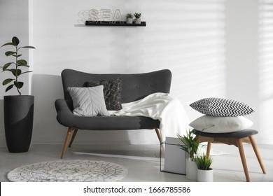 Stylish living room interior with comfortable sofa