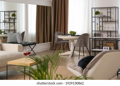 Stylish living room interior with comfortable furniture