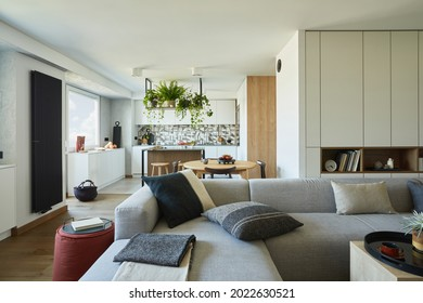 Stylish living room interior design with grey sofa, pouf and personal accessories. Dining space and kitchen on the background. Creative walls with woode pannels. Minimalistic styl concept.  - Shutterstock ID 2022630521