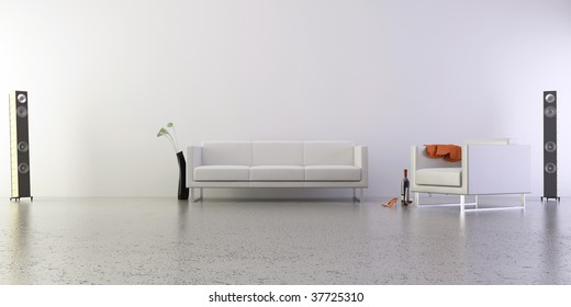 Stylish Living Room Setting - armchair and couch with sound speakers