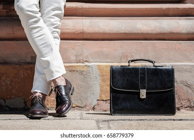 Stylish male person wearing trendy shoes